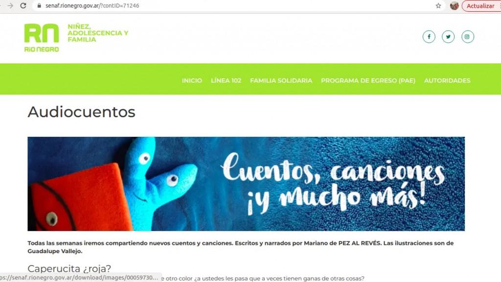 La SENAF ofrece audiocuentos para niñas y niños a través de su página web